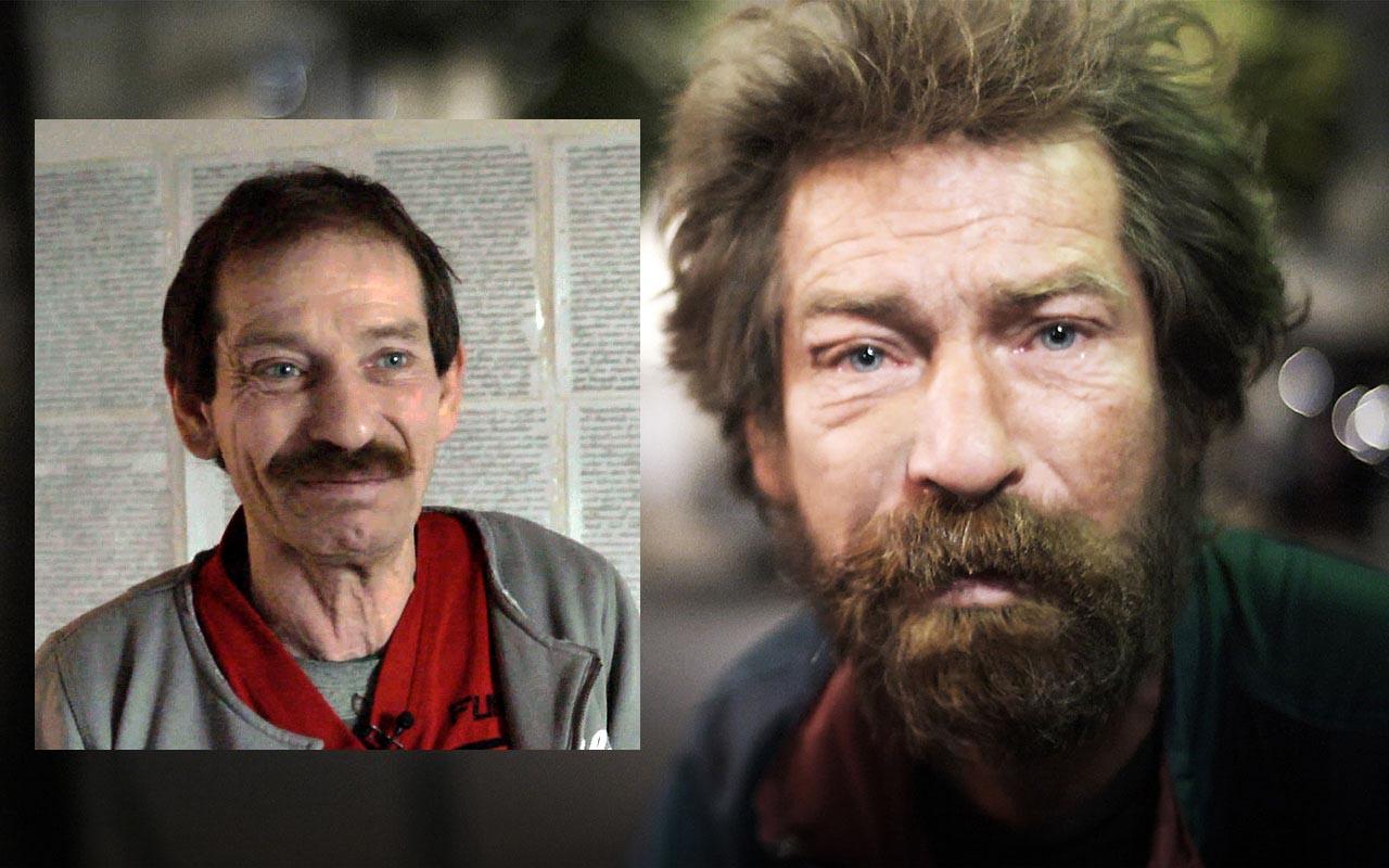 Alex, obdachlos im Jahr 2012 (rechts) und in seiner Sozialwohnung im Jahr 2015.